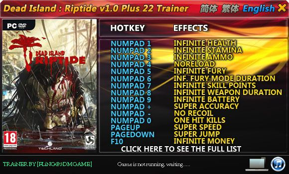 Dead Island: Riptide 1.0 (1.4.0) +22 Trainer [FliNG]