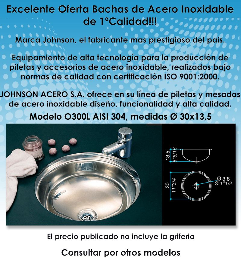 Bachas Para Baño Acero Inoxidable:Bachas/piletas O300l De Acero Inoxidable Johnson Acero $ 54514 – La