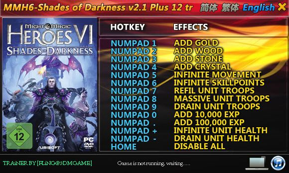 Might and Magic Heroes 6: Shades of Darkness 2.1 +12 Trainer [FliNG]