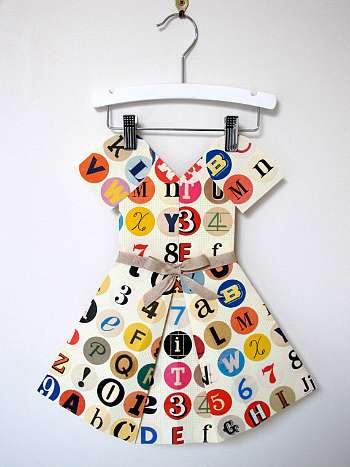 Folded paper typography dress on Cool Mom Picks